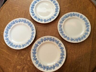 """Wedgwood Embossed Queensware FOUR  lavender on cream smooth edge 7 1/4"""" plates"""