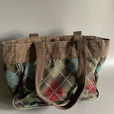 thirty one Small Tote Purse Brown Multicolored Knit Inspired Retired Blue Green