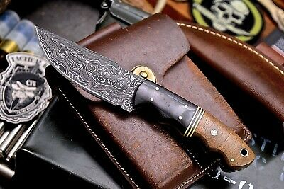 CFK Handmade Twist Damascus Custom Exotic Tambooti Wood Hunting Skinning Knife