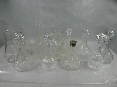 Lot of 12 Glass Decanters Spirit Bottles Some Missing Lids Used Condition
