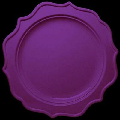 New 144-Pack Purple Color Round Scalloped Rim Disposable Plastic Plate