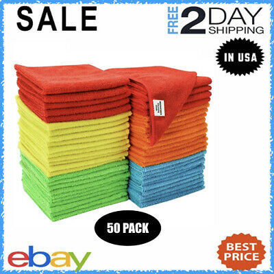 Bulk Microfiber Cleaning Cloth Towels For Cars Kitchen Rags No-Scratch 50 Pack