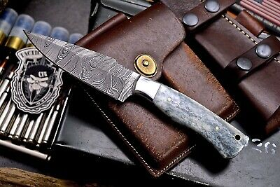 CFK Handmade Twist Damascus Custom Mosaic Camel Bone Hunting Skinning Camp Knife