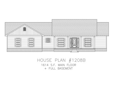 Ranch House Plans 1614 SF 3 Bed 2 Bath Split BR + Basement (Blueprints) #1208B