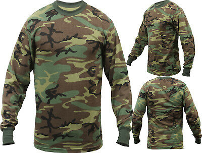Tactical Long Sleeve Camo Tee Mens Woodland Camouflage Military Army T-Shirt