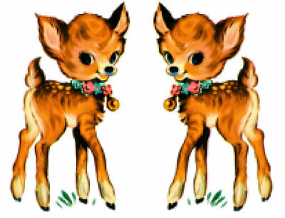 Vintage Image Shabby Nursery Baby Deer Transfer Waterslide Decals AN733