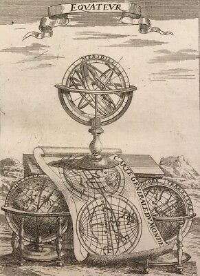 Antique celestial globes, armillary sphere by Mallet 1684 Original copper plate