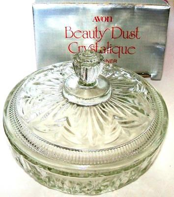 Avon BEAUTY DUST CRYSTALIQUE CONTAINER 1975 original box NOS NIB sold empty