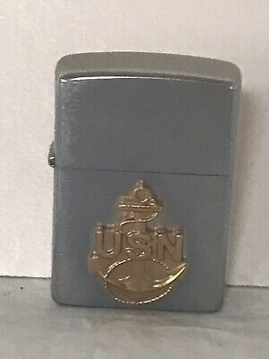 New Old Stock 2006 United States Navy Brass Anchor Chrome Zippo Lighter