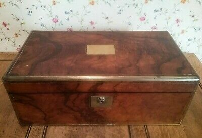 Victorian Burr Walnut Large Writing Slope Box Brass 3 Secret Drawers Width 45cm