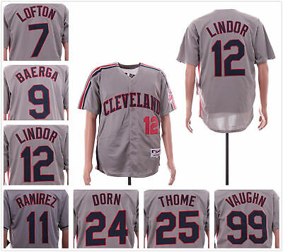 Men's Cleveland Indians 1990's Coopstown Throwback Baseball Replica Jersey Gray