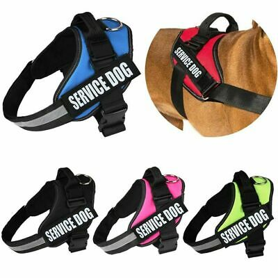 Service Dog Vest Harness Adjustable Removable Reflective Patches Durable XS-XXL