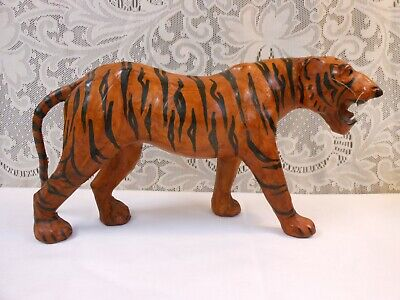 Large Vintage Safari Animals Paper Mache & Leather Tiger Made in India