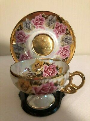Royal Sealy China Tea Cup & Saucer-full size-pedastel-pink rose-made in Japan