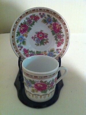 Made in China Demitasse Tea Cup & Saucer -white with mixed floral