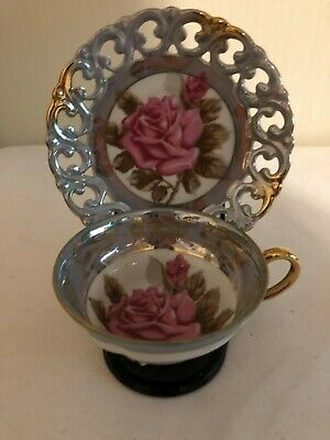 Royal Sealy China Tea Cup & Saucer-full size-3 footed-pink rose-made in Japan
