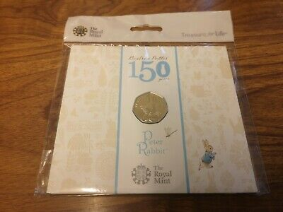 2016 Peter Rabbit 50p fifty pence coin in BU Pack : Beatrix Potter