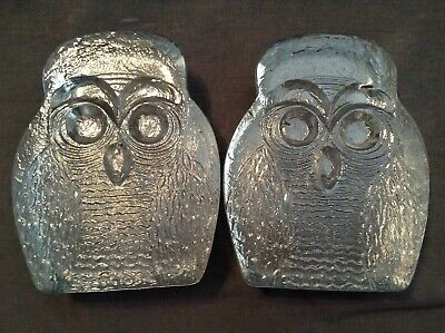 Blenko Glass Owl Bookends Vintage 1960s Mid Century Modern MCM