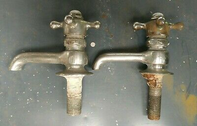 Mueller Vintage HOT & COLD Sink Faucet Spigot Nickel Plate Brass Porcelain
