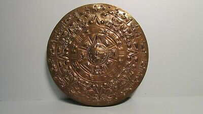 Vintage Mexican Copper Aztec Mayan Embossed Wall SUN Calendar Plaque J.G.G TAXCO