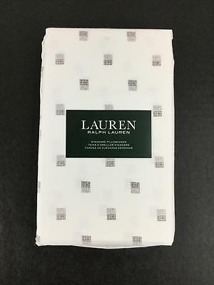 "Ralph Lauren Gray Square Standard Pillowcases Pair White 100% Cotton 20x32"" New"
