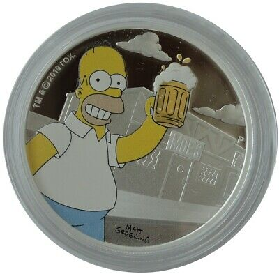 Tuvalu 1 Oz Silver Homer Simpson 2019 Color Color Proof with Box