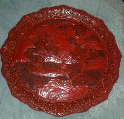 """Large 9.5"""" Vintage/Antique Chinese Carved Cinnabar Lacquer Plate EXCELLENT"""