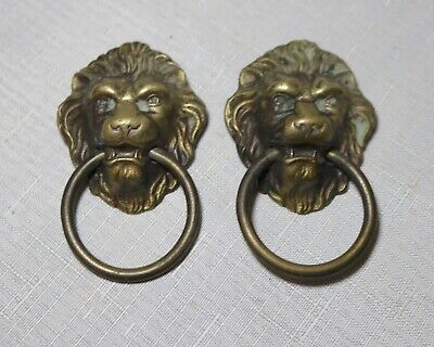 LARGE pair of antique brass victorian lion heads drawer furniture pull handles ,