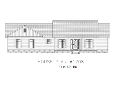 Ranch House Plans 1614 SF 3 Bed 2 Bath Split BR - Open Floor (Blueprints) #1208