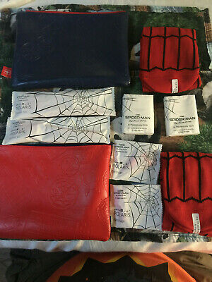 United Airlines Spider-Man Limited Edition Amenity BAGS with socks. Red & Blue