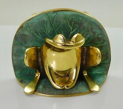 NEW Vintage Colby Smith Heavy Cast Brass Frog Lilypad Door Knocker Signed 1982