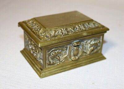 quality antique 1800's ornate Victorian French gold gilt brass desk stamp box