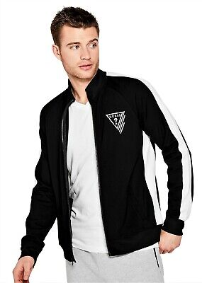 GUESS Mens Black & White Performance Stretch Logo Track Jacket L NEW WITH TAGS