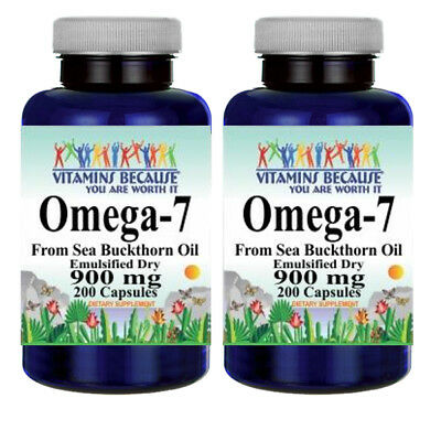 Omega-7 900mg Fatty Acids 2X200 Caps from Natural Sea Buckthorn-Palmitoleic Acid