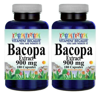 Bacopa Extract 900 mg 2X180 Capsules Bacopa Monnieria by Vitamins Because