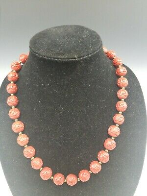 Vintage Chinese Red Cinnabar Beads Necklace