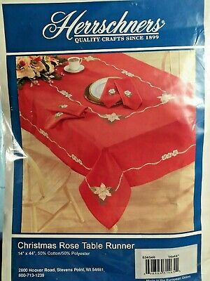 """Herrschners CHRISTMAS ROSE TABLE RUNNER  ~ Stamped Embroidery Linen  14"""" x 44"""""""