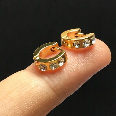 10mm Ring Circle Tiny Hoop Earrings Fashion Small Mini Cute Huggie Gold Tone Men