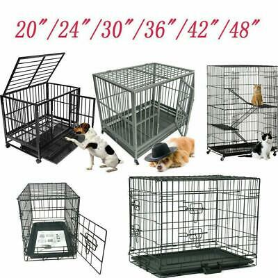 "48""/42""/36""/30""/24""/20"" Pet Kennel Cat Dog Folding Crate Wire Metal Cage Playpen"
