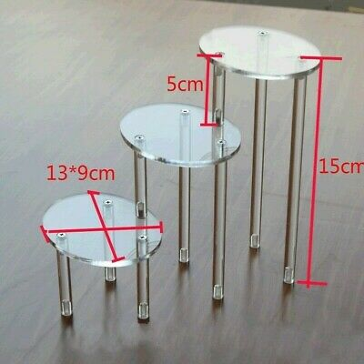 Acrylic 3Tier Display Shelf Sand Showcase for Action Figure Toys Cosmetics Clear