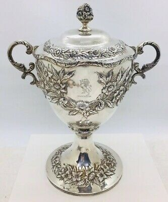 S. Kirk & Son Antique Sterling Silver Floral Repousse 2 Handled Covered Urn Pot