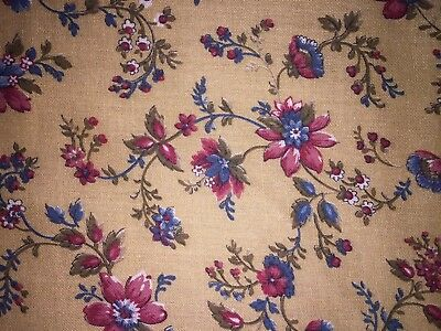 Vintage Lightweight Cotton Blend~Quilting~Sewing Fabric~2+Yds~Maroon Blue Floral