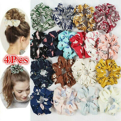 4pcs Chiffon Flower Hair Bands Scrunchies Rope Ponytail Holder Hair Accessories