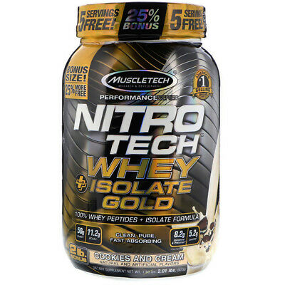 MuscleTech Nitro-Tech Whey Plus Isolate Gold, Cookies and Cream, 2lbs