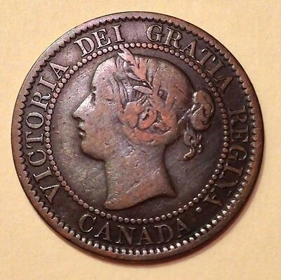 1859 Canada,Queen Victoria,1C/One Cent Coin, Die Crack On A Leaf, Scarce Antique