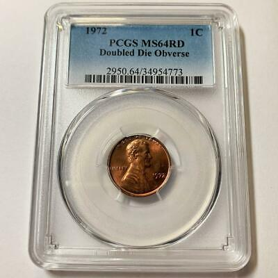 1972 Lincoln Cent  Doubled Die Obv  Pcgs Ms64 Red  #9287