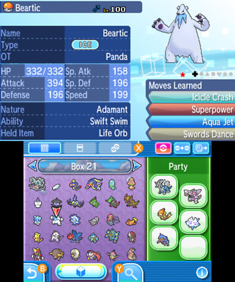 POKEMON SUN/MOON,ULTRA SUN/ULTRA Moon Custom Shiny 6IV Team