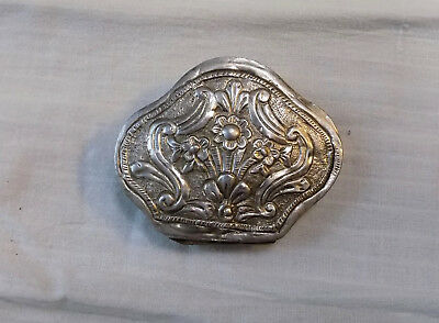 Antique Balkan Islamic Ottoman Turkish Hand-engraved Silver Snuff Tobacco Box