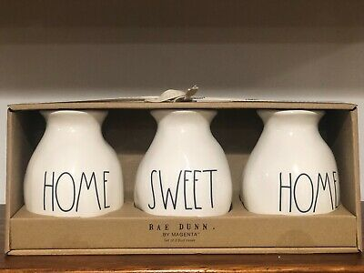 Rae Dunn Artisan Collection By Magenta HOME SWEET HOME Bud Vase, Set of 3 HTF