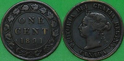 1891 Canada Large Date and Large Leaf Large Penny Graded as Fine